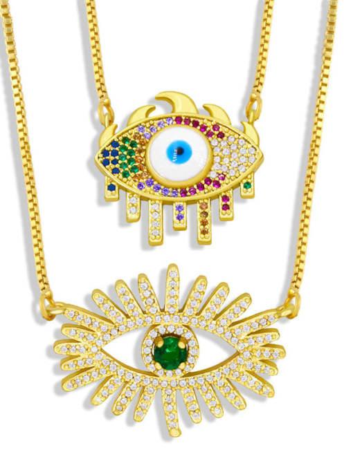 CC Brass Cubic Zirconia Evil Eye Hip Hop Necklace 3