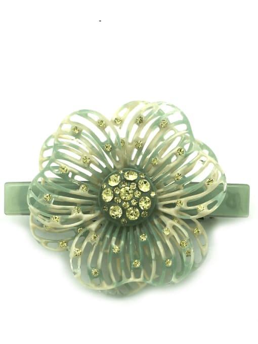 Early spring green Cellulose Acetate Cute Flower Zinc Alloy Rhinestone Spring Hair Barrette