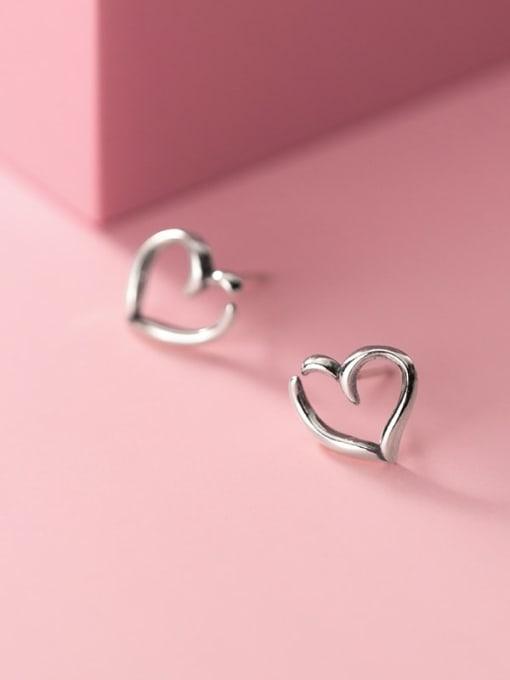 Rosh 925 Sterling Silver Hollow Heart Minimalist Stud Earring 0