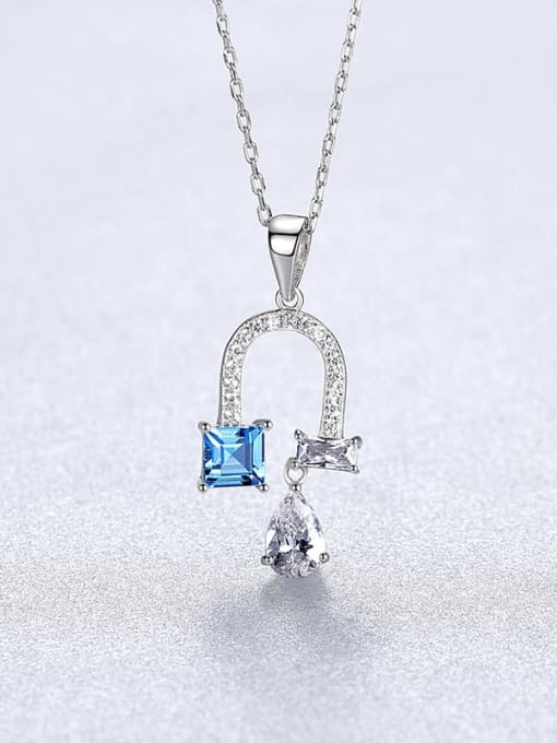 platinum 20A03 925 Sterling Silver Cubic Zirconia Flower Dainty Necklace