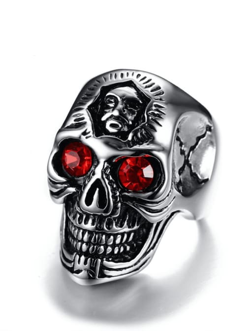 CONG Stainless steel Rhinestone Skull Vintage Band Ring