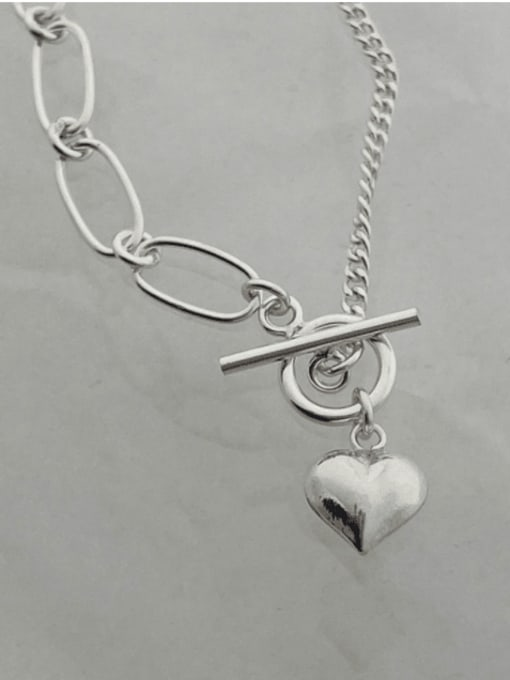Boomer Cat 925 Sterling Silver Heart Minimalist Asymmetric chain  Anklet 2