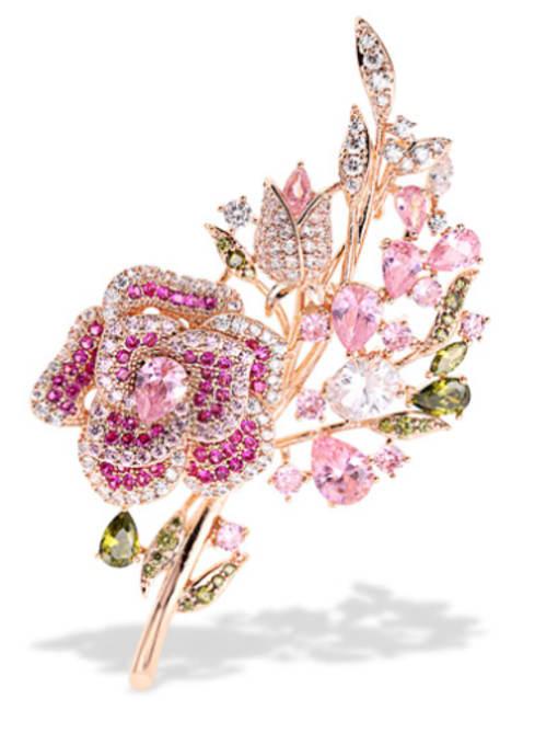 Luxu Brass Cubic Zirconia Flower Statement Brooch