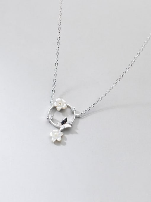 Rosh 925 Sterling Silver Shell Flower Minimalist Necklace 4