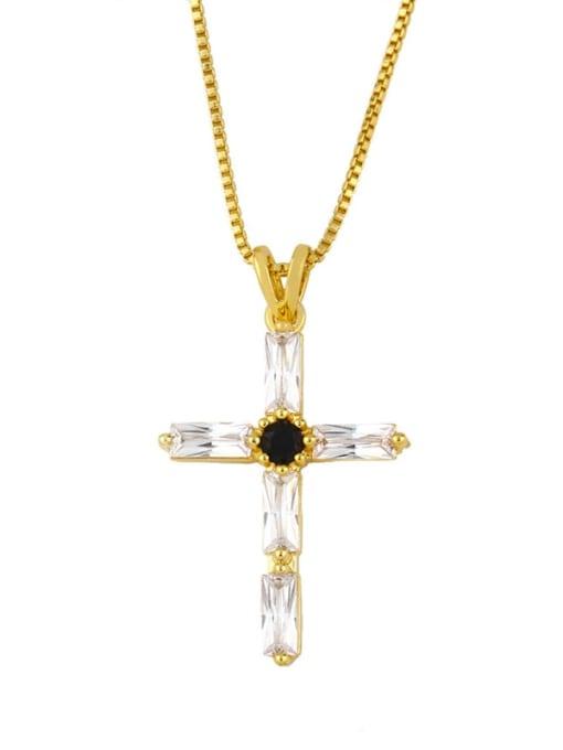CC Brass Cubic Zirconia Geometric Minimalist Regligious Necklace 0