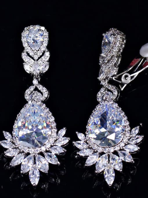 platinum Ear clip Brass Cubic Zirconia Flower Luxury Drop Earring