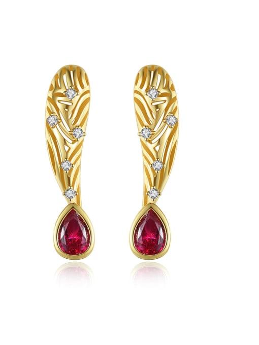 BLING SU Brass Cubic Zirconia Leaf Vintage Stud Earring