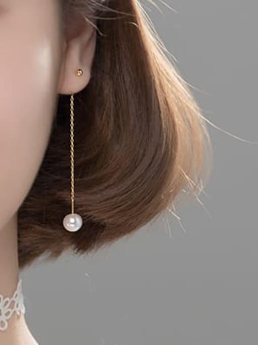 Rosh 925 Sterling Silver Imitation Pearl Tassel Minimalist Threader Earring 1