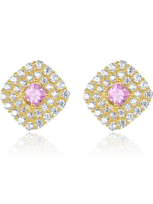 CCUI 925 Sterling Silver Cubic Zirconia Square Luxury Stud Earring 0