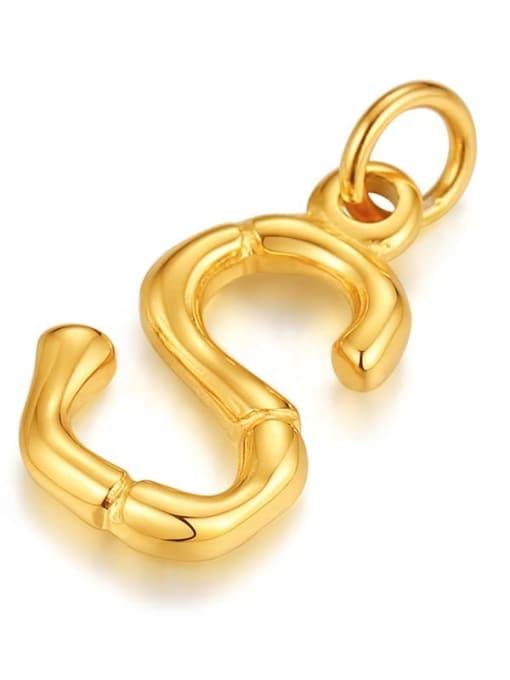 Letter S, without chain Titanium Steel  26 Letter Minimalist  Pendant Necklace