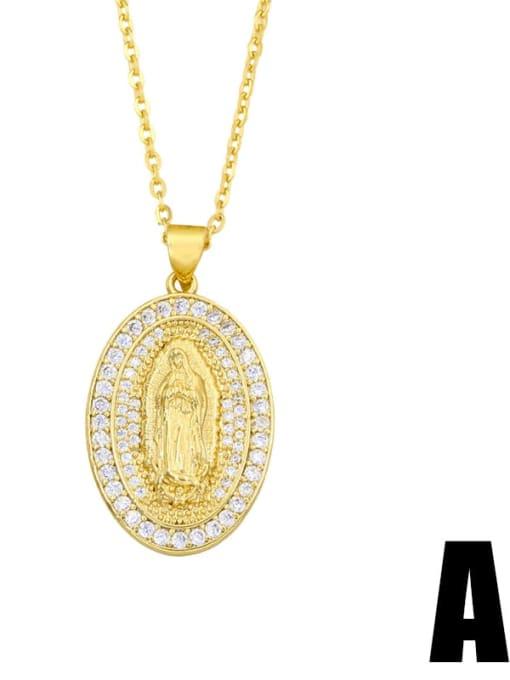 A Brass Cubic Zirconia Religious Hip Hop Necklace