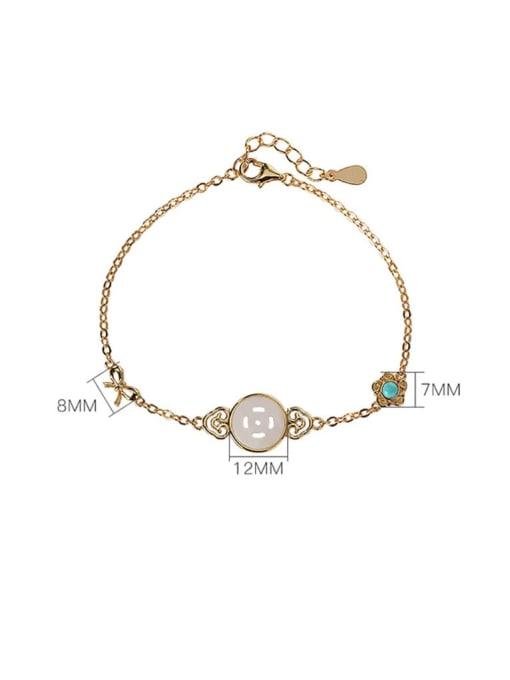 DEER 925 Sterling Silver Jade Geometric Minimalist Link Bracelet 4