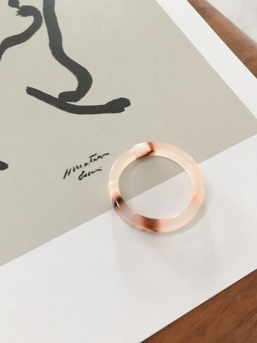 light pink Cellulose Acetate Geometric Minimalist  men and women Melange ring