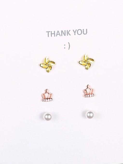 Rose gold 23b10 925 Sterling Silver Cubic Zirconia Crown Cute Stud Earring