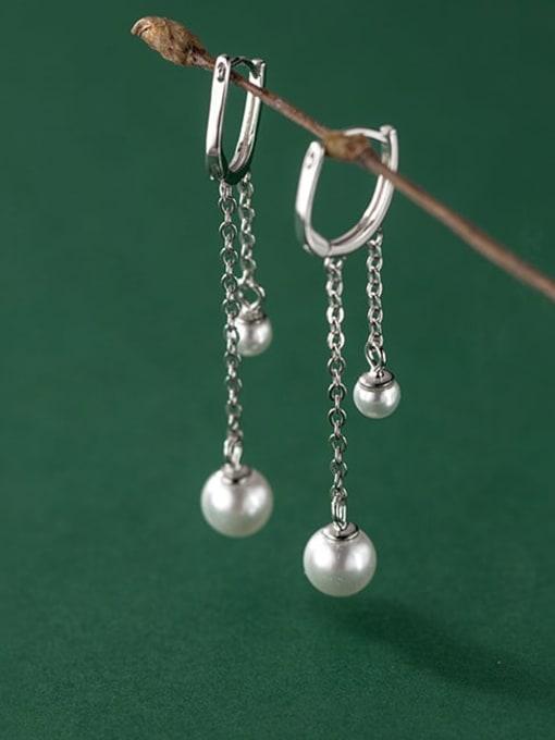 Rosh 925 Sterling Silver Imitation Pearl Tassel Minimalist Huggie Earring 1