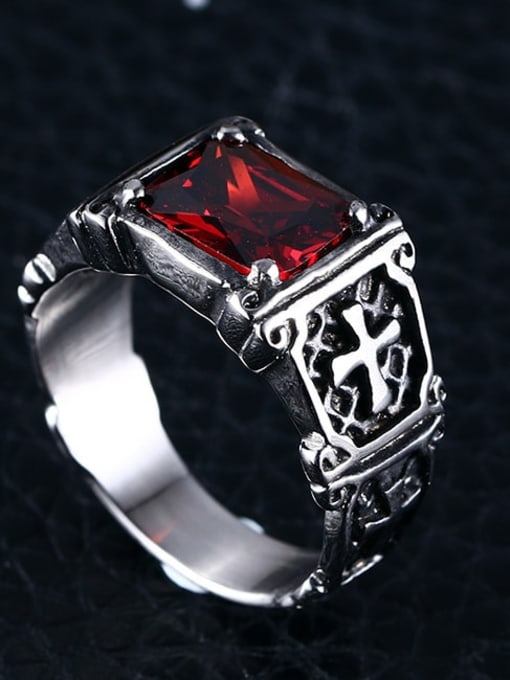 CONG Titanium Steel Glass Stone Geometric Vintage Band Ring 2