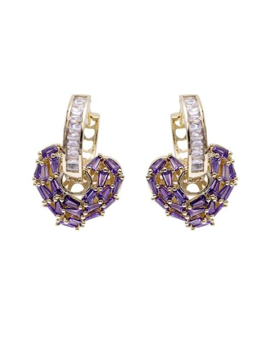 Luxu Brass Cubic Zirconia Heart Minimalist Drop Earring 2