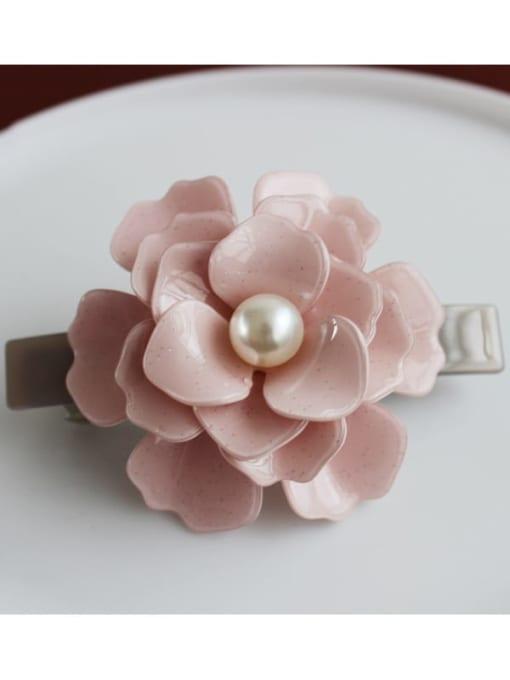 Pearl powder Cellulose Acetate Minimalist Flower Zinc Alloy Spring clip Hair Barrette