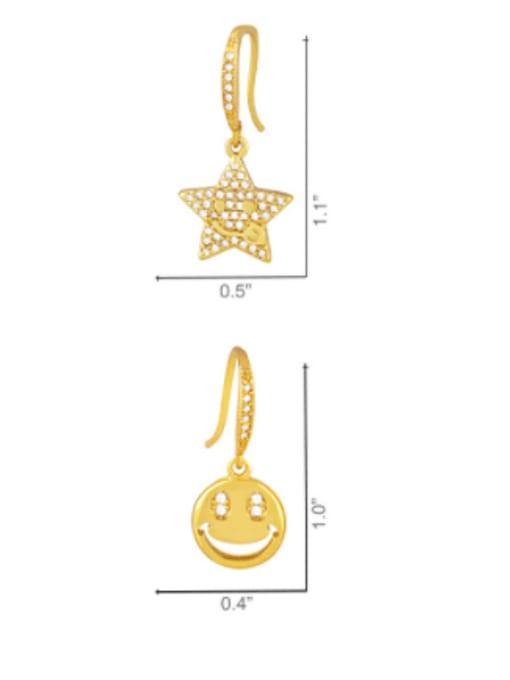 CC Brass Cubic Zirconia Star Hip Hop Hook Earring 3