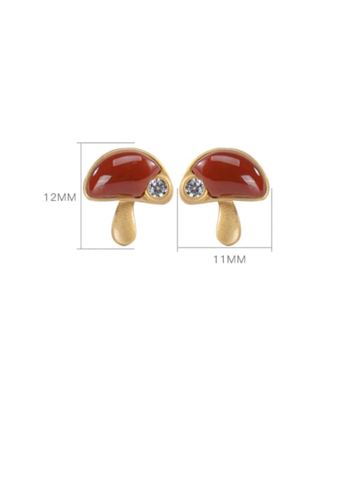 DEER 925 Sterling Silver Carnelian Mushroom Cute Stud Earring 2