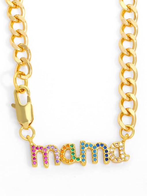 B Brass Cubic Zirconia  Hip Hop Letter Pendant Necklace