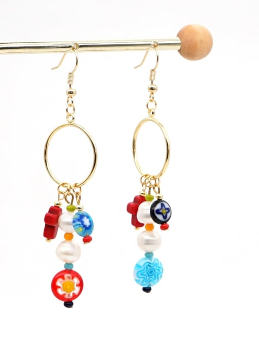 ZZ E200056A Stainless steel Freshwater Pearl Multi Color Glass beads Ethnic Long   Hook Earring