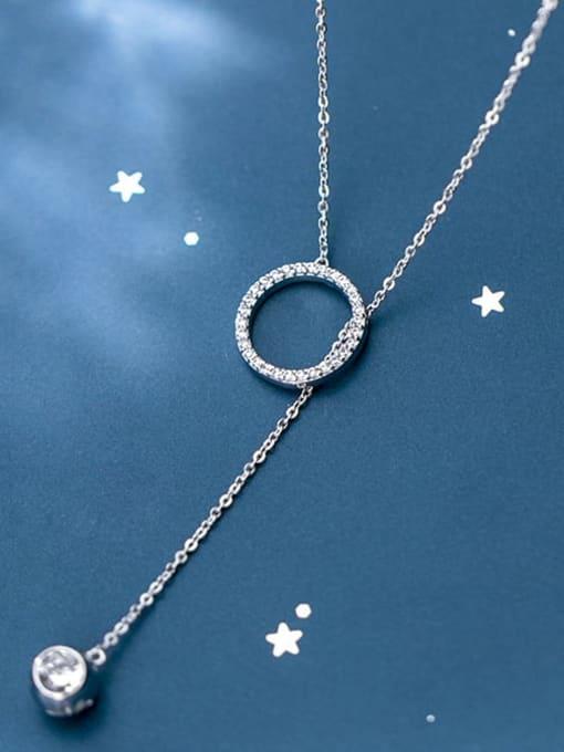 Rosh 925 Sterling Silver Rhinestone White Round Minimalist Lariat Necklace