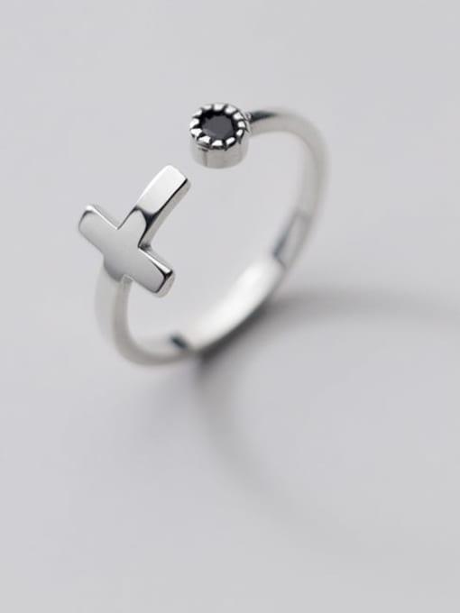Rosh 925 Sterling Silver Enamel Cross Minimalist Band Ring