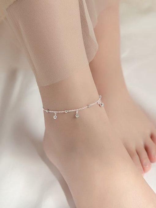Rosh 925 Sterling Silver Round Minimalist  Anklet 1