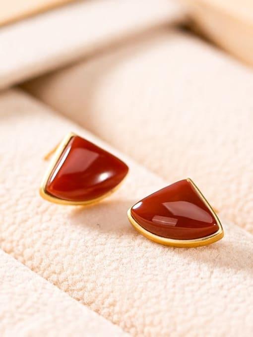 DEER 925 Sterling Silver Carnelian Triangle Minimalist Stud Earring 2
