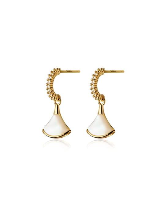 gold 925 Sterling Silver Shell Irregular Minimalist Drop Earring