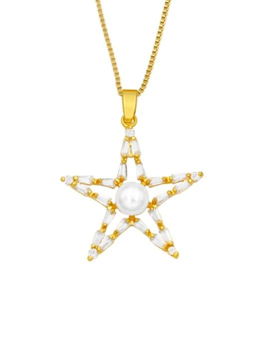 CC Brass Cubic Zirconia Star Hip Hop Necklace 1