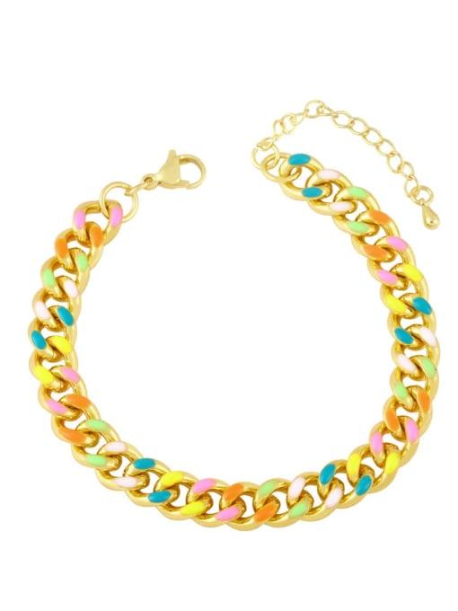 B Brass Enamel Smiley Vintage Bracelet