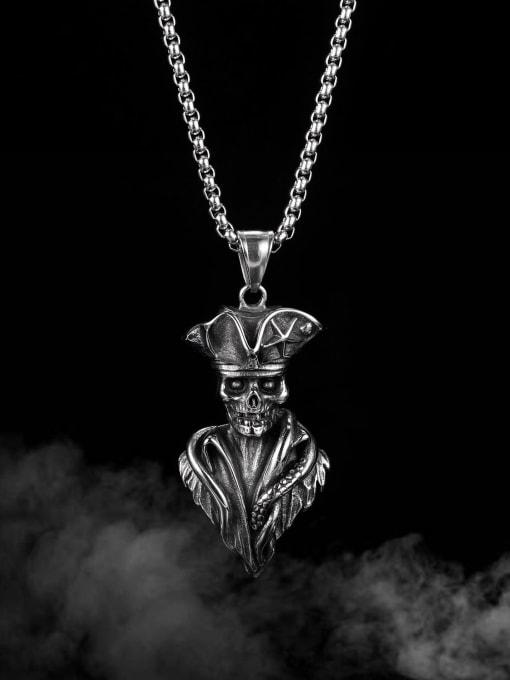 Open Sky Titanium Steel Skull Vintage Necklace 1