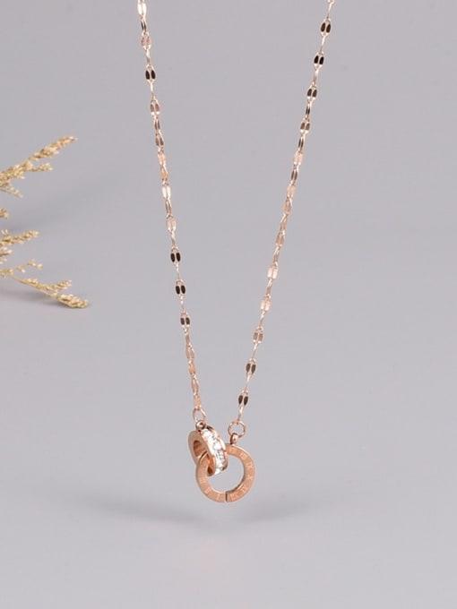 A TEEM Titanium Steel Rhinestone Number Minimalist Necklace 0