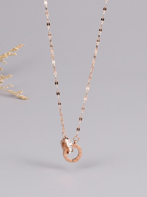 A TEEM Titanium Steel Rhinestone Number Minimalist Necklace