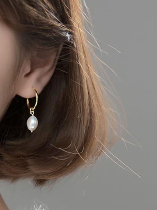 Rosh 925 Sterling Silver Imitation Pearl Geometric Minimalist Huggie Earring 2