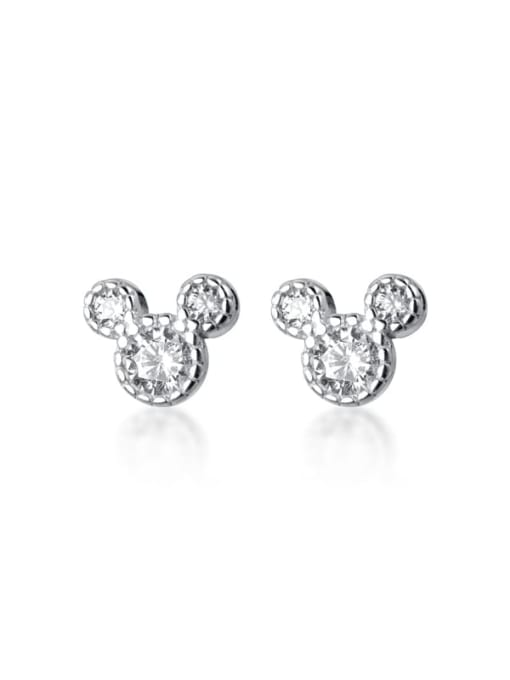 Rosh 925 Sterling Silver Cubic Zirconia Mouse Minimalist Stud Earring 4