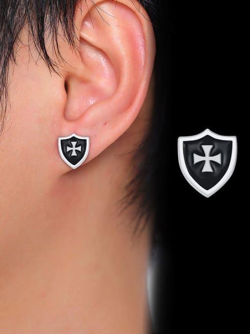 CONG Titanium Steel Enamel Cross Hip Hop Stud Earring 4