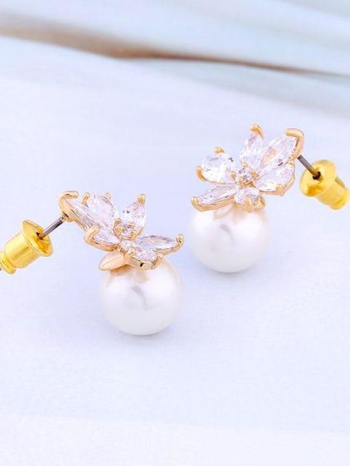 golden Brass Cubic Zirconia Flower Minimalist Stud Earring