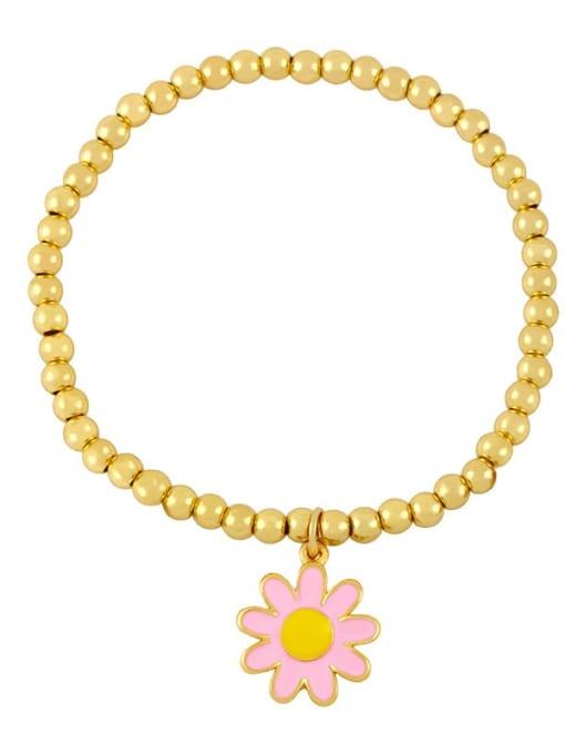 F (pink) Brass Enamel Flower Vintage Beaded Bracelet