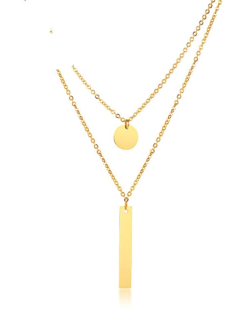 CONG Stainless steel Geometric Minimalist Multi Strand Necklace 0