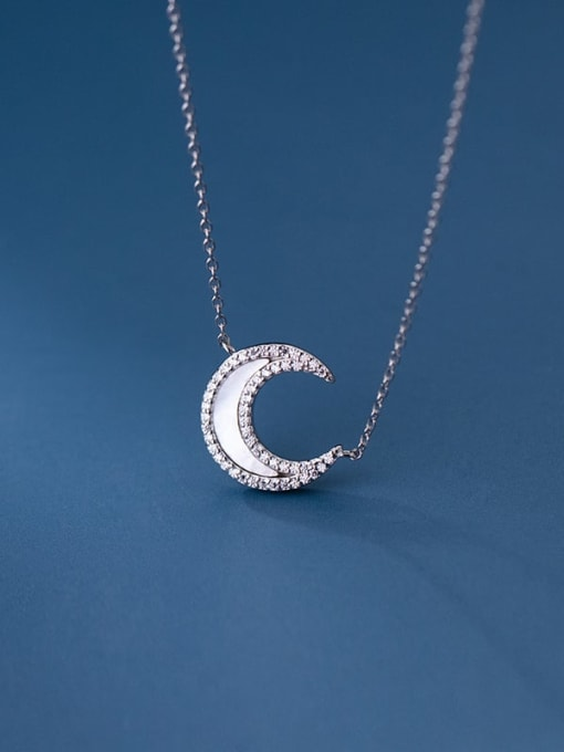 Rosh 925 Sterling Silver Shell Moon Minimalist Necklace 2