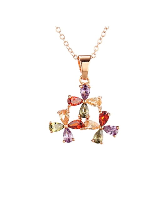 DUDU Brass Cubic Zirconia Multi Color Flower Dainty Necklace