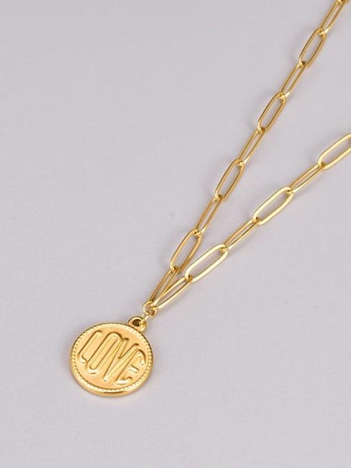 A TEEM Titanium Steel Message Minimalist  Round Pendant Necklace