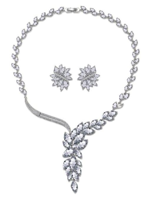 L.WIN Brass Cubic Zirconia  Luxury Flower Earring and Necklace Set 3