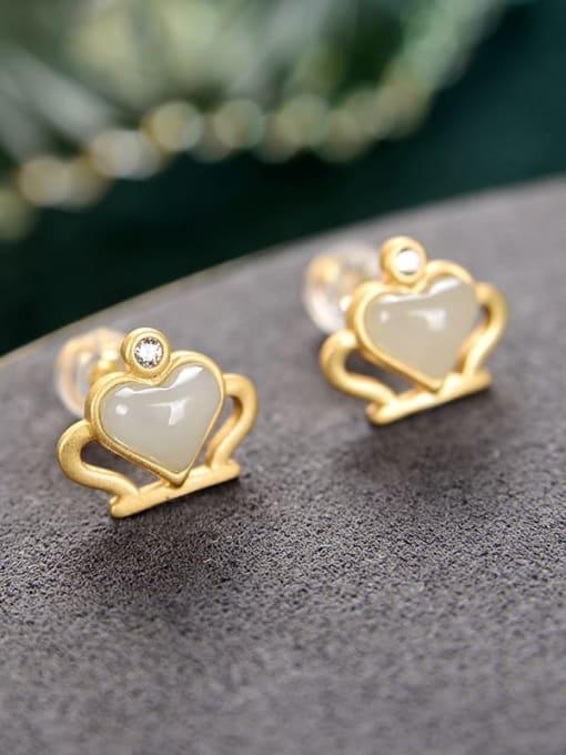 White jade 925 Sterling Silver Jade Crown Cute Stud Earring