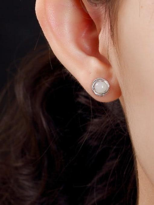 DEER 925 Sterling Silver Jade Geometric Cute Stud Earring 3