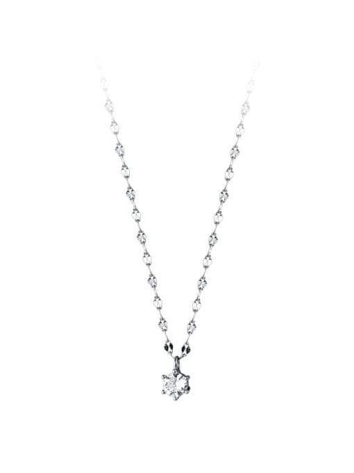 Rosh 925 Sterling Silver Cubic Zirconia Round Minimalist Necklace 3