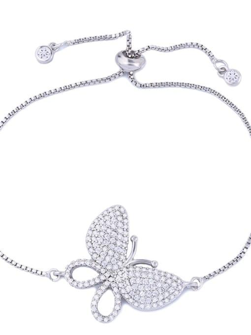 CC Brass Cubic Zirconia Butterfly Dainty Adjustable Bracelet 4
